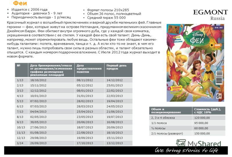 Феи Издается с 2006 года Аудитория девочки 5 - 9 лет Периодичность выхода 1 р/месяц Красочный журнал о волшебный приключениях и верной дружбе маленьких фей. Главные героини феи, которые живут на острове Нетландия, придуманном великим сказочником Джей
