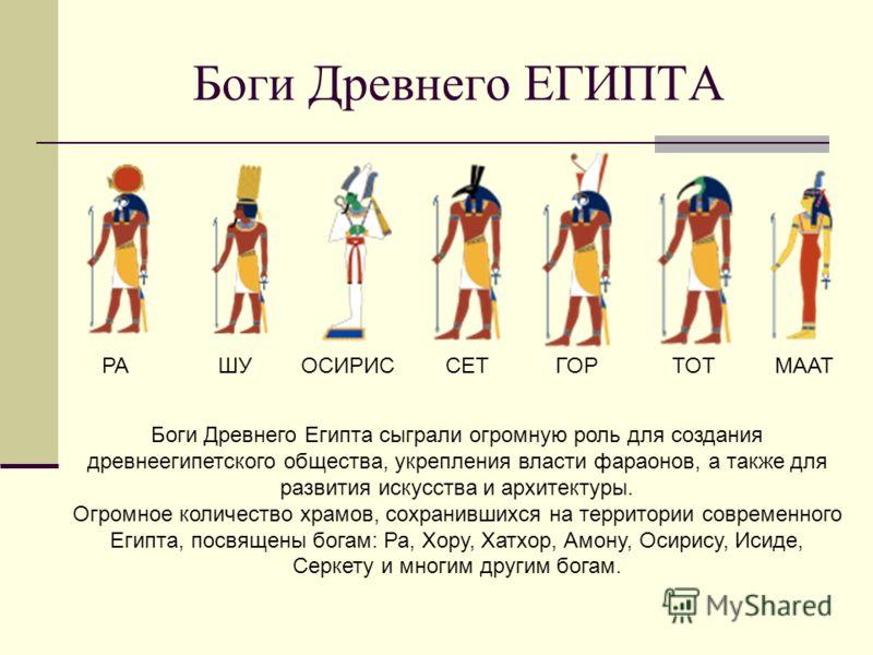 Боги Древнего ЕГИПТА РАШУОСИРИССЕТГОРТОТМААТ Боги Древнего Египта сыграли огромную роль для создания древнеегипетского общества, укрепления власти фараонов, а также для развития искусства и архитектуры. Огромное количество храмов, сохранившихся на те
