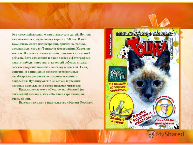 Это «веселый журнал о животных» для детей. Но, как нам показалось, чуть более старших. 5-8 лет. В нем тоже очень много иллюстраций, причем не только рисованных, есть в «Тошке» и фотографии. Короткие тексты. В издании много загадок, логических заданий