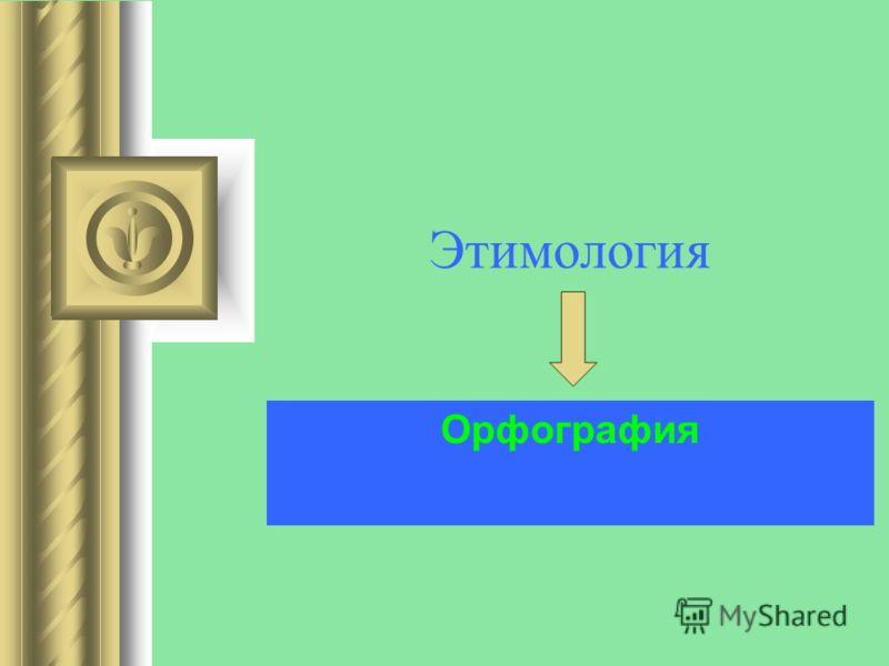 Этимология Орфография