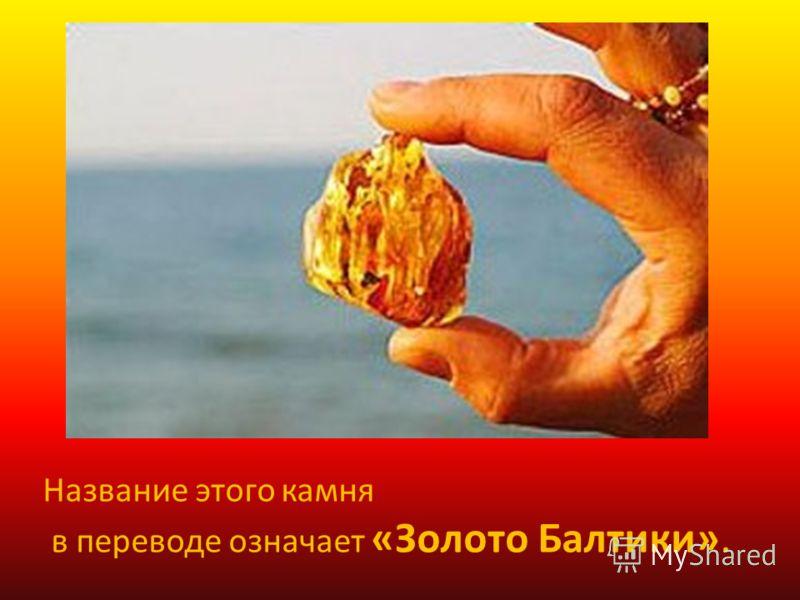 Название этого камня в переводе означает «Золото Балтики».