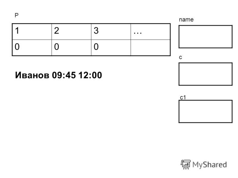 123… 000 Р name c c1 Иванов 09:45 12:00