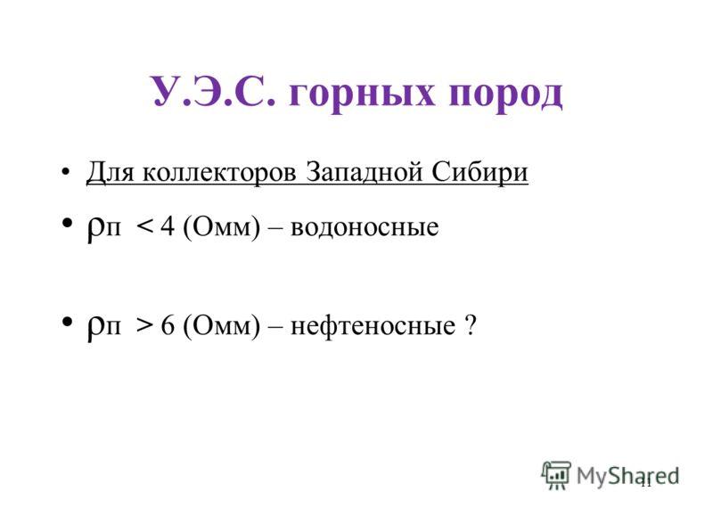 У.Э.С. горных пород Для коллекторов Западной Сибири ρ п < 4 (Омм) – водоносные ρ п > 6 (Омм) – нефтеносные ? 11
