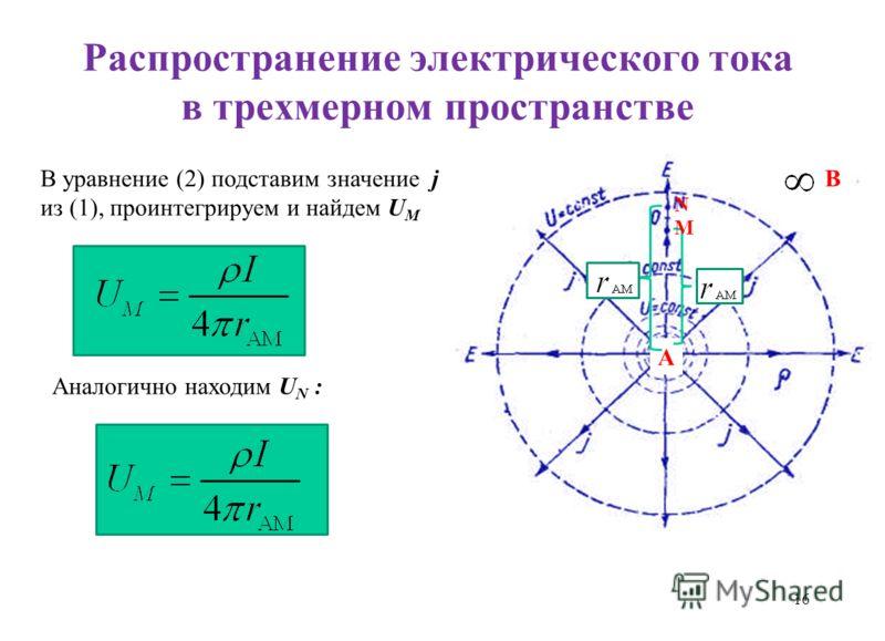 Распространение электрического тока в трехмерном пространстве 16 В уравнение (2) подставим значение j из (1), проинтегрируем и найдем U M Аналогично находим U N : А В M N M