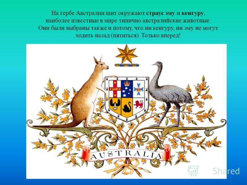 На гербе Австралии щит окружают страус эму и кенгуру, наиболее известные в мире типично австралийские животные. Они были выбраны также и потому, что ни кенгуру, ни эму не могут ходить назад (пятиться). Только вперед!