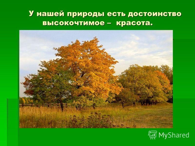 У нашей природы есть достоинство высокочтимое – красота. У нашей природы есть достоинство высокочтимое – красота.