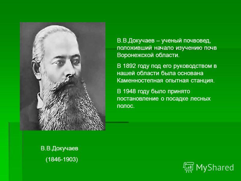 В.В.Докучаев (1846-1903) В.В.Докучаев – ученый почвовед, положивший начало изучению почв Воронежской области. В 1892 году под его руководством в нашей области была основана Каменностепная опытная станция. В 1948 году было принято постановление о поса