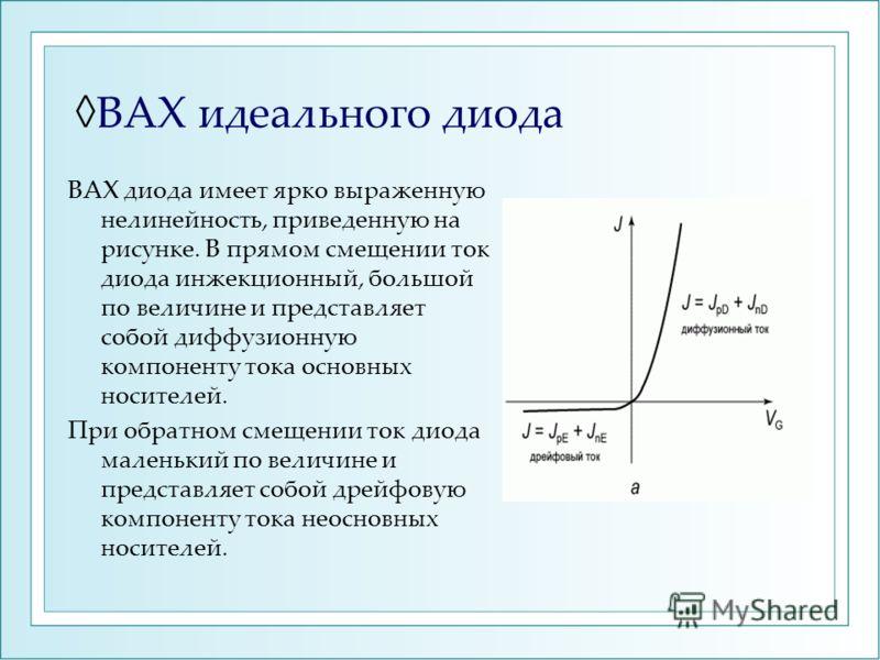 ВАХ идеального диода ВАХ диода имеет ярко выраженную нелинейность, приведенную на рисунке. В прямом смещении ток диода инжекционный, большой по величине и представляет собой диффузионную компоненту тока основных носителей. При обратном смещении ток д