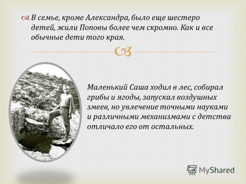 В семье, кроме Александра, было еще шестеро детей, жили Поповы более чем скромно. Как и все обычные дети того края. Маленький Саша ходил в лес, собирал грибы и ягоды, запускал воздушных змеев, но увлечение точными науками и различными механизмами с д