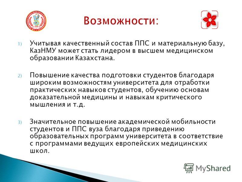 1) Учитывая качественный состав ППС и материальную базу, КазНМУ может стать лидером в высшем медицинском образовании Казахстана. 2) Повышение качества подготовки студентов благодаря широким возможностям университета для отработки практических навыков
