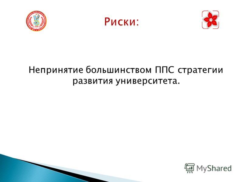 Непринятие большинством ППС стратегии развития университета.