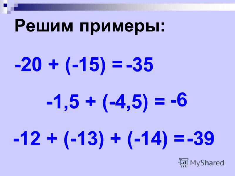 Решим примеры: -20 + (-15) = -35 -1,5 + (-4,5) = -6 -12 + (-13) + (-14) =-39