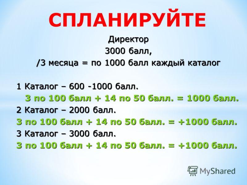 СПЛАНИРУЙТЕ Директор 3000 балл, /3 месяца = по 1000 балл каждый каталог 1 Каталог – 600 -1000 балл. 3 по 100 балл + 14 по 50 балл. = 1000 балл. 3 по 100 балл + 14 по 50 балл. = 1000 балл. 2 Каталог – 2000 балл. 3 по 100 балл + 14 по 50 балл. = +1000