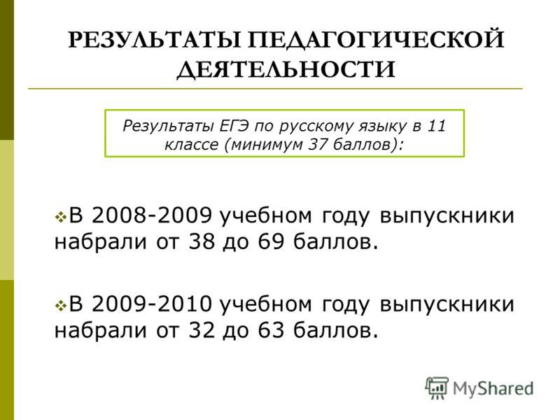 РЕЗУЛЬТАТЫ ПЕДАГОГИЧЕСКОЙ ДЕЯТЕЛЬНОСТИ Результаты ЕГЭ по русскому языку в 11 классе (минимум 37 баллов): В 2008-2009 учебном году выпускники набрали от 38 до 69 баллов. В 2009-2010 учебном году выпускники набрали от 32 до 63 баллов.