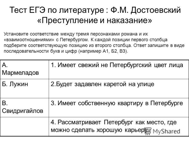 Установите соответствие между тремя персонажами романа и их «взаимоотношениями» с Петербургом. К каждой позиции первого столбца подберите соответствующую позицию из второго столбца. Ответ запишите в виде последовательности букв и цифр (например А1, Б