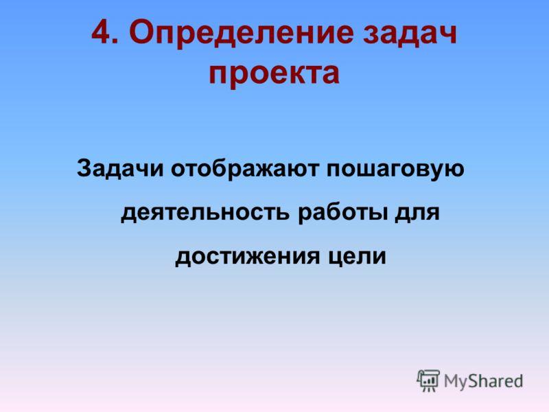 4. Определение задач проекта Задачи отображают пошаговую деятельность работы для достижения цели
