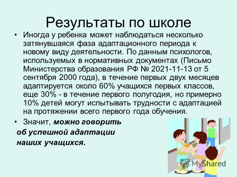 Результаты по школе Иногда у ребенка может наблюдаться несколько затянувшаяся фаза адаптационного периода к новому виду деятельности. По данным психологов, используемых в нормативных документах (Письмо Министерства образования РФ 2021-11-13 от 5 сент