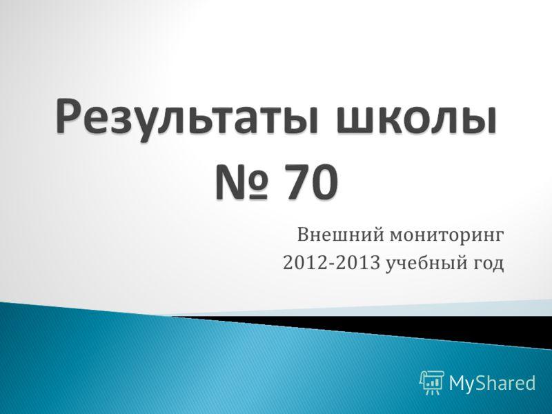 Внешний мониторинг 2012-2013 учебный год