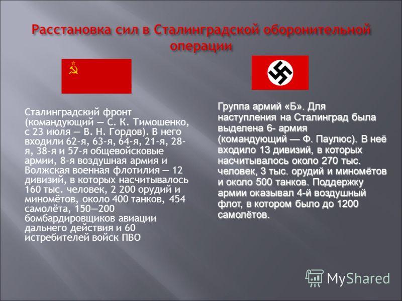 Сталинградский фронт (командующий С. К. Тимошенко, с 23 июля В. Н. Гордов). В него входили 62-я, 63-я, 64-я, 21-я, 28- я, 38-я и 57-я общевойсковые армии, 8-я воздушная армия и Волжская военная флотилия 12 дивизий, в которых насчитывалось 160 тыс. че