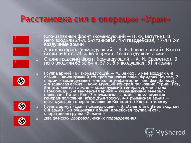 Юго-Западный фронт (командующий Н. Ф. Ватутин). В него входили 21-я, 5-я танковая, 1-я гвардейская, 17-я и 2-я воздушные армии Донской фронт (командующий К. К. Рокоссовский). В него входили 65-я, 24-я, 66-я армии, 16-я воздушная армия Сталинградский