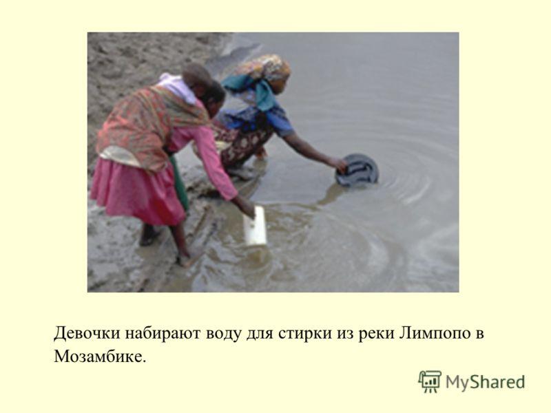 Девочки набирают воду для стирки из реки Лимпопо в Мозамбике.