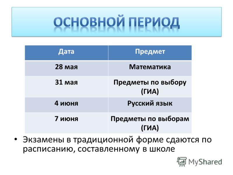 Экзамены в традиционной форме сдаются по расписанию, составленному в школе ДатаПредмет 28 маяМатематика 31 маяПредметы по выбору (ГИА) 4 июняРусский язык 7 июняПредметы по выборам (ГИА)