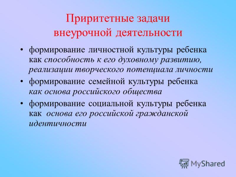 Приритетные задачи внеурочной деятельности формирование личностной культуры ребенка как способность к его духовному развитию, реализации творческого потенциала личности формирование семейной культуры ребенка как основа российского общества формирован