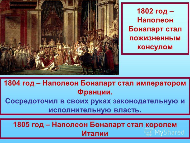 1802 год – Наполеон Бонапарт стал пожизненным консулом 1804 год – Наполеон Бонапарт стал императором Франции. Сосредоточил в своих руках законодательную и исполнительную власть. 1805 год – Наполеон Бонапарт стал королем Италии