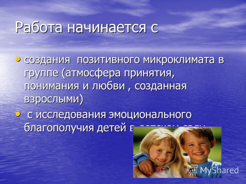 Работа начинается с создания позитивного микроклимата в группе (атмосфера принятия, понимания и любви, созданная взрослыми) создания позитивного микроклимата в группе (атмосфера принятия, понимания и любви, созданная взрослыми) с исследования эмоцион