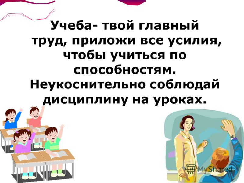 Учеба- твой главный труд, приложи все усилия, чтобы учиться по способностям. Неукоснительно соблюдай дисциплину на уроках.