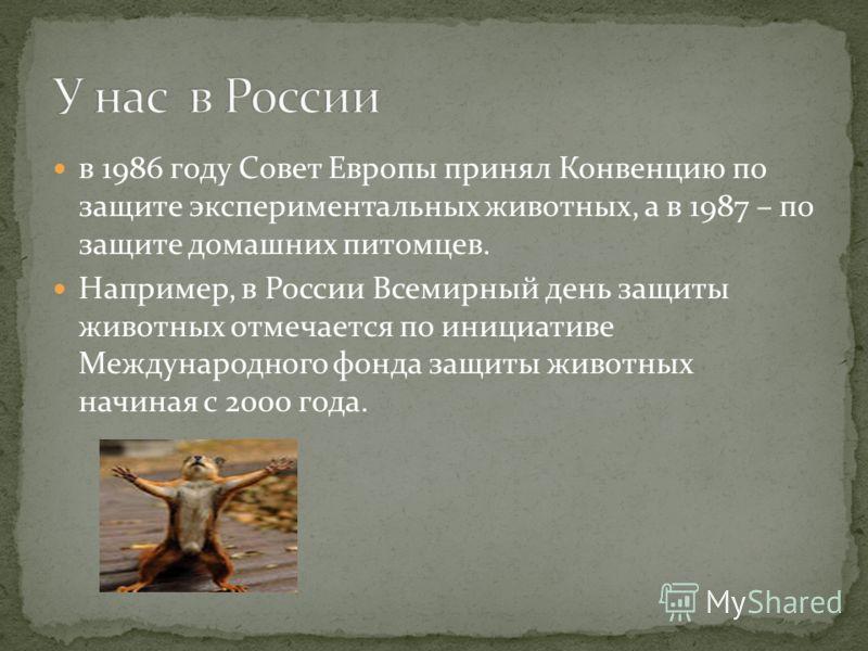 в 1986 году Совет Европы принял Конвенцию по защите экспериментальных животных, а в 1987 – по защите домашних питомцев. Например, в России Всемирный день защиты животных отмечается по инициативе Международного фонда защиты животных начиная с 2000 год