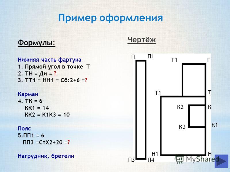 Формулы: Нижняя часть фартука 1. Прямой угол в точке Т 2. ТН = Ди = ? 3. ТТ1 = НН1 = Сб:2+6 =? Карман 4. ТК = 6 КК1 = 14 КК2 = К1К3 = 10 Пояс 5.ПП1 = 6 ПП3 =СтХ2+20 =? Нагрудник, бретели Т Н К Н1 Т1 К2 К1 К3 П П1 П3П4 ГГ1 Пример оформления