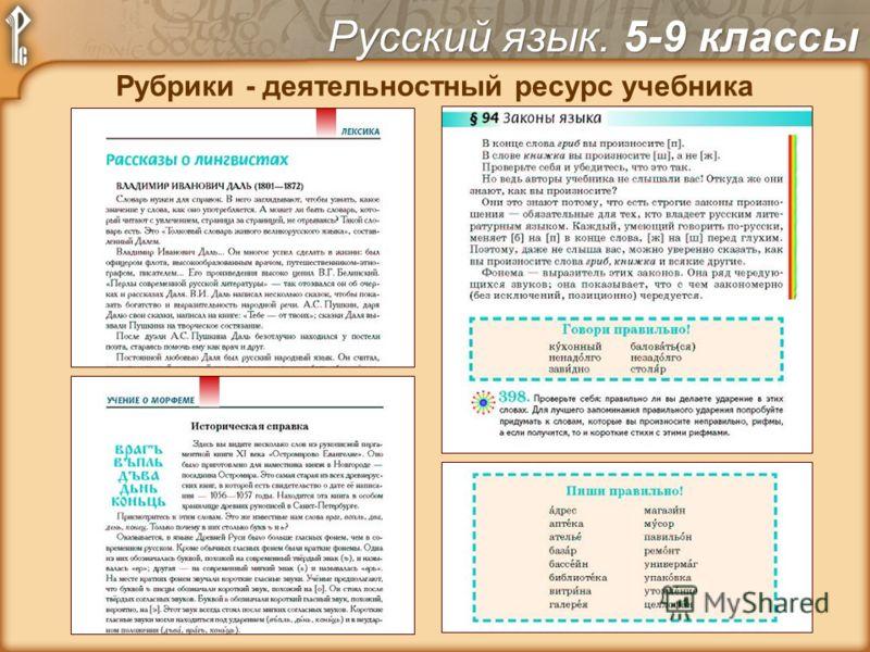 Рубрики - деятельностный ресурс учебника Русский язык. 5-9 классы