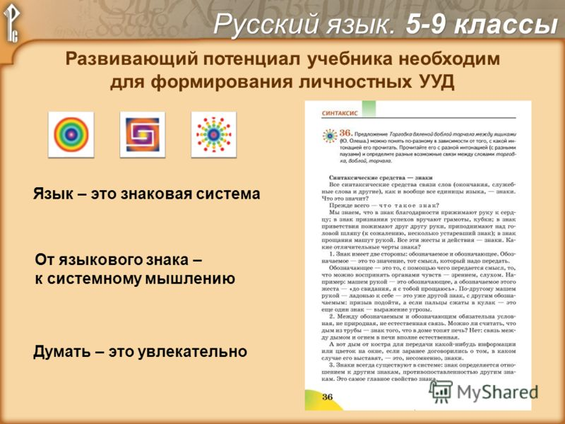 Развивающий потенциал учебника необходим для формирования личностных УУД Язык – это знаковая система Думать – это увлекательно От языкового знака – к системному мышлению Русский язык. 5-9 классы