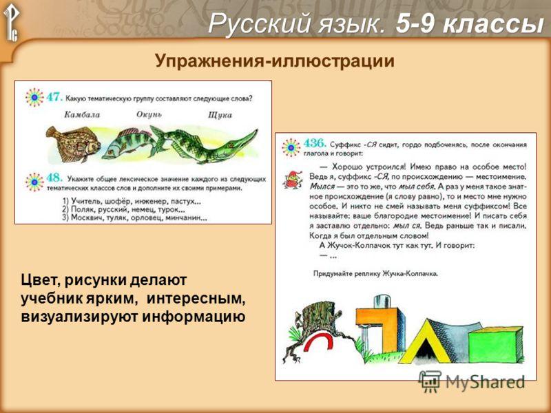 Упражнения-иллюстрации Цвет, рисунки делают учебник ярким, интересным, визуализируют информацию Русский язык. 5-9 классы