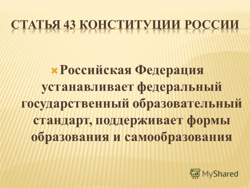 Российская Федерация устанавливает федеральный государственный образовательный стандарт, поддерживает формы образования и самообразования