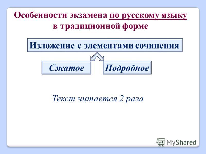 Текст читается 2 раза Особенности экзамена по русскому языку в традиционной форме Изложение с элементами сочинения СжатоеПодробное