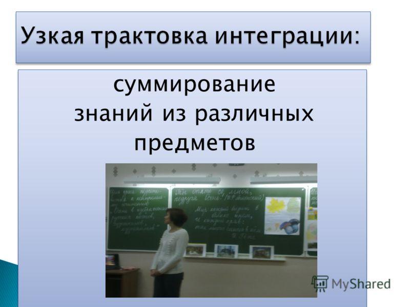суммирование знаний из различных предметов суммирование знаний из различных предметов