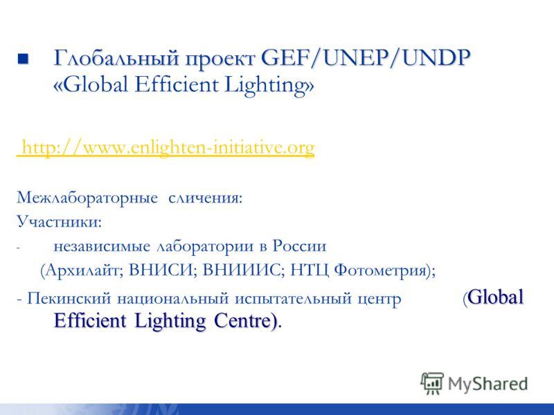 Глобальный проект GEF/UNEP/UNDP « Глобальный проект GEF/UNEP/UNDP «Global Efficient Lighting» http://www.enlighten-initiative.org http://www.enlighten-initiative.org ). Межлабораторные сличения: Участники: - - независимые лаборатории в России (Архила