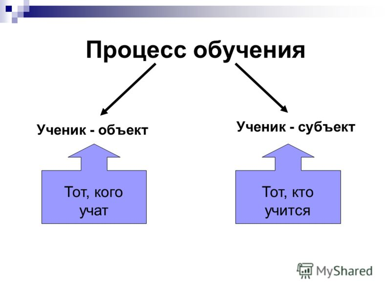 Процесс обучения Ученик - объект Ученик - субъект Тот, кого учат Тот, кто учится