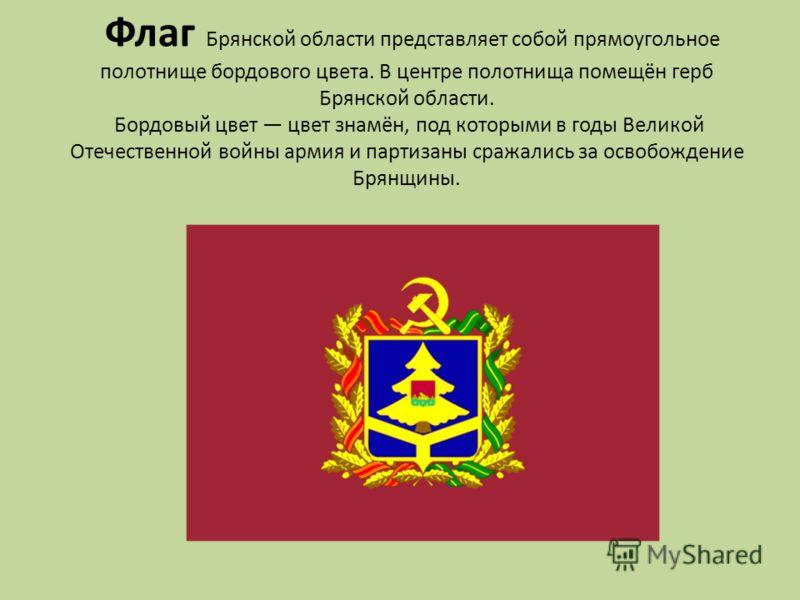 Флаг Брянской области представляет собой прямоугольное полотнище бордового цвета. В центре полотнища помещён герб Брянской области. Бордовый цвет цвет знамён, под которыми в годы Великой Отечественной войны армия и партизаны сражались за освобождение