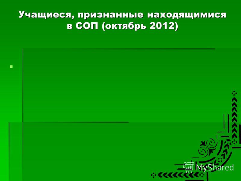 Учащиеся, признанные находящимися в СОП (октябрь 2012)