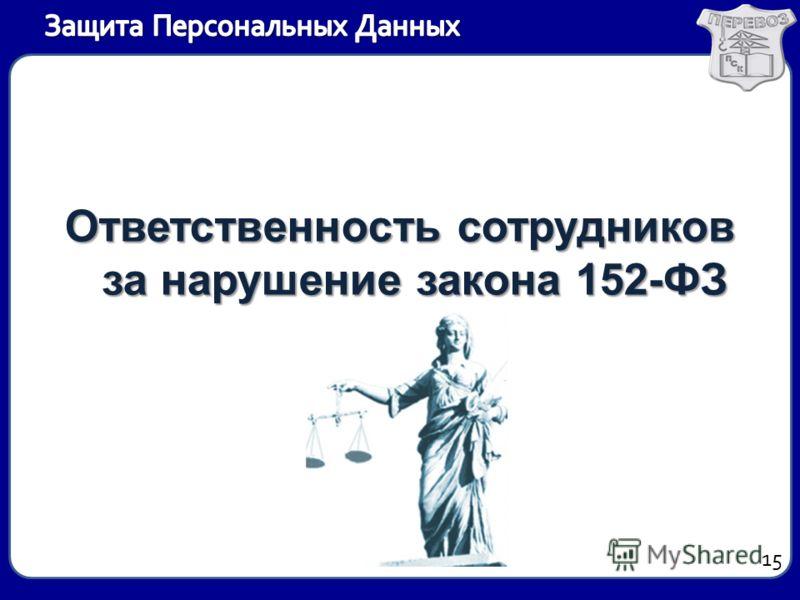 Ответственность сотрудников за нарушение закона 152-ФЗ 15