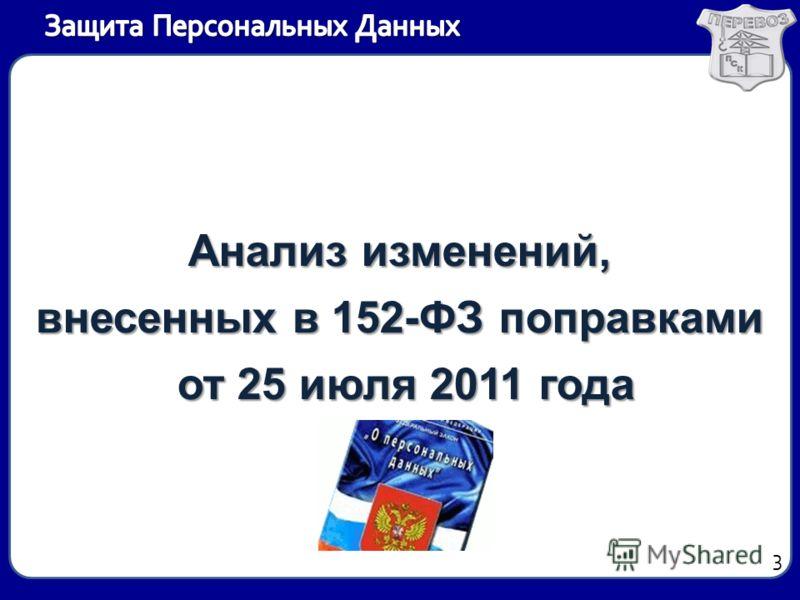 Анализ изменений, внесенных в 152-ФЗ поправками от 25 июля 2011 года от 25 июля 2011 года 3