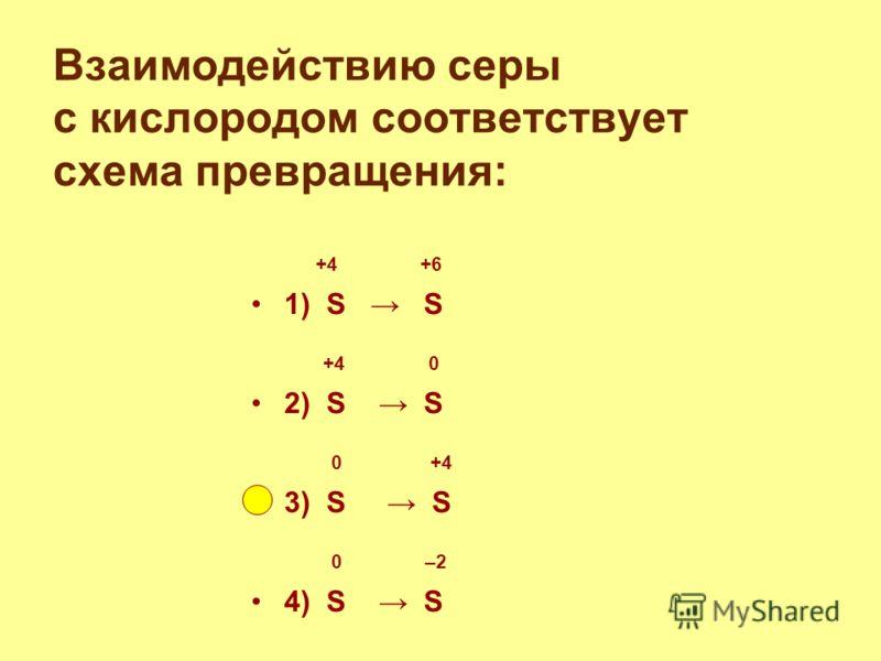 Взаимодействию серы с кислородом соответствует схема превращения: +4 +6 1) S S +4 0 2) S S 0 +4 3) S S 0 –2 4) S S