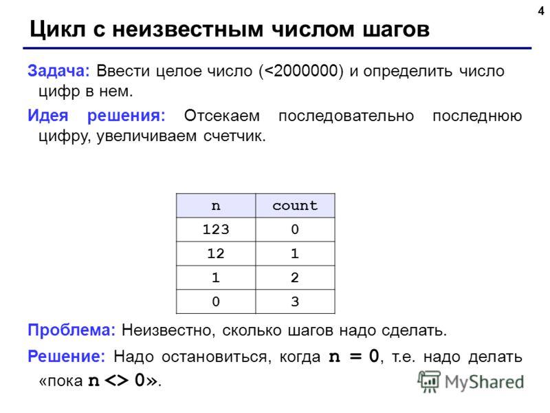 4 Цикл с неизвестным числом шагов Задача: Ввести целое число (