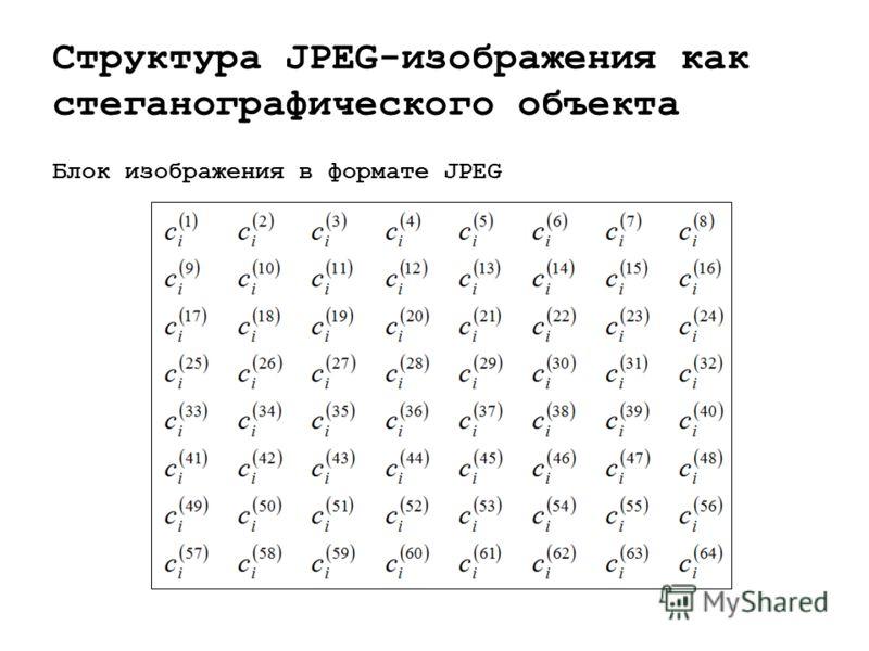 Структура JPEG-изображения как стеганографического объекта Блок изображения в формате JPEG