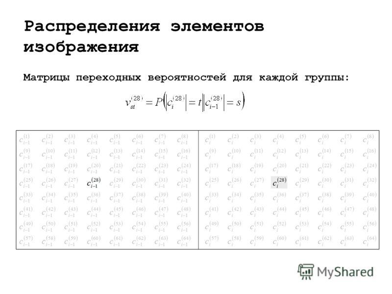 Распределения элементов изображения Матрицы переходных вероятностей для каждой группы: