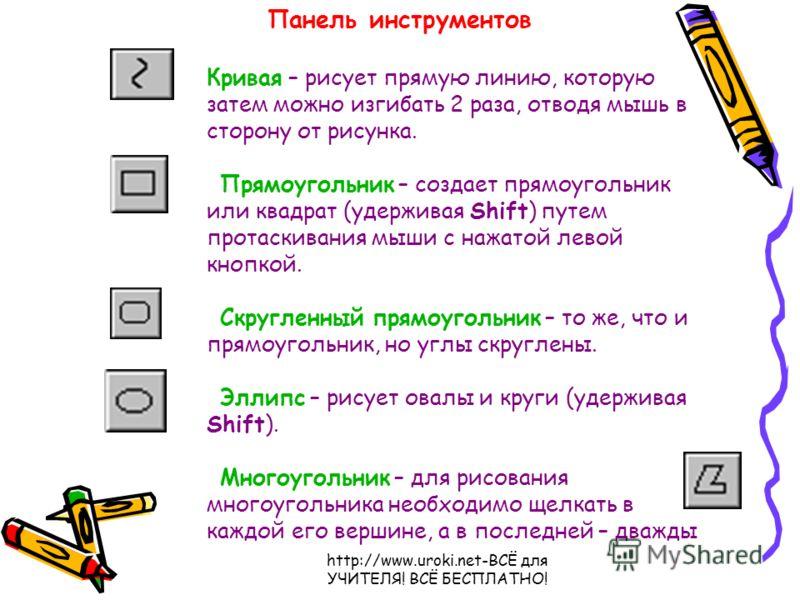 http://www.uroki.net-ВСЁ для УЧИТЕЛЯ! ВСЁ БЕСПЛАТНО! Кривая – рисует прямую линию, которую затем можно изгибать 2 раза, отводя мышь в сторону от рисунка. Прямоугольник – создает прямоугольник или квадрат (удерживая Shift) путем протаскивания мыши с н