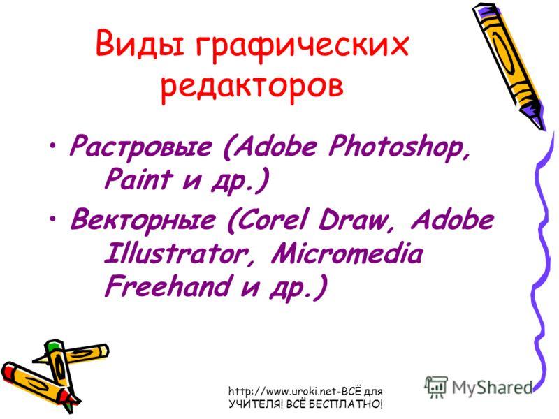 Виды графических редакторов Растровые (Adobe Photoshop, Paint и др.) Векторные (Corel Draw, Adobe Illustrator, Micromedia Freehand и др.)